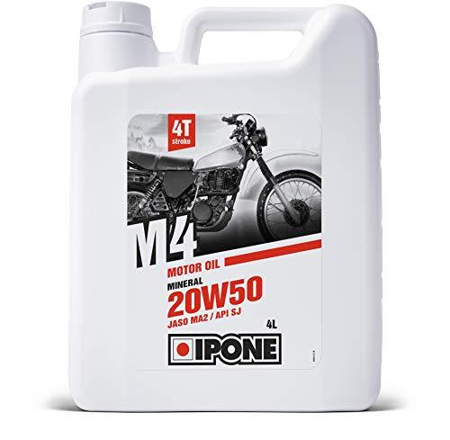 IPONE – Huile Moto 4 Temps 20W50 M4 - Bidon 4 Litres - Lubrifiant Minéral - Résistance à l'Usure et Protection du moteur
