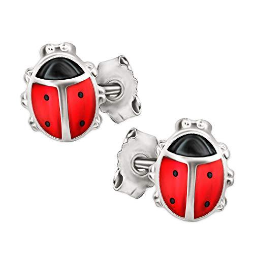 Clever Schmuck Silberne Mädchen Ohrringe als Ohrstecker kleine Marienkäfer mit Füßchen 7 mm rot schwarz glänzend STERLING SILBER 925 für Kleinkind