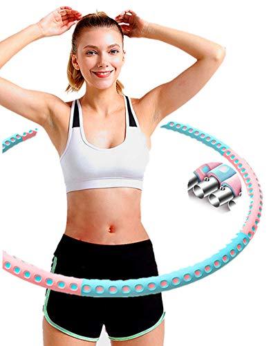 ManK Hula Hoop, Hula Hoop Reifen Erwachsene, Verbesserter Edelstahlkern mit Dicker Premium Schaumstoff, 6 Abnehmbare Abschnitte Fitness Reifen, Gewichten Einstellbar von 1,2 bis 3,4 kg