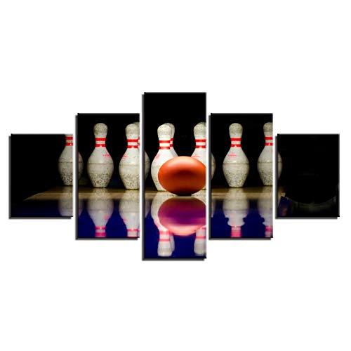 NA Leinwand Gemälde Wohnkultur Hd Drucke Poster Rahmen Für Wohnzimmer 5 Stücke Bowlingkugel Sport Landschaft Bilder Wandkunst