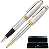Cross Pen Set | Engraved/Personalized Cross Bailey Medalist Ballpoint and Fountain Gift Pen Set....