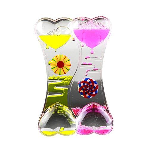 LPxdywlk Descompresión Fugas De Aceite Doble Corazón Líquido Movimiento Burbuja Gota De Aceite Reloj De Arena Temporizador Manualidades Adornos Juguetes para Niños Regalo Amarillo Rosa