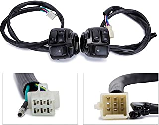 ESUBOSHI Motorcycle 1'' Handlebar Switch Control Kit With Wiring Harness For Harley Dyna Softail XL883 Black
