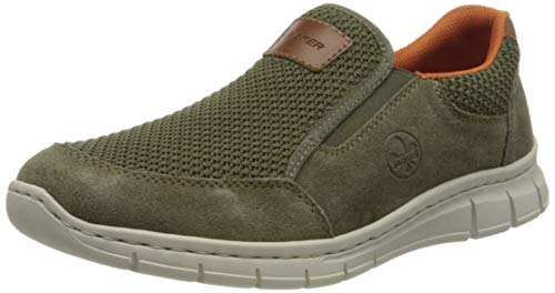 Rieker Herren Frühjahr/Sommer B7758 Sneaker, Grün (Moor/Vert/Amaretto 55), 44 EU