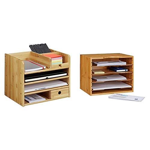 Relaxdays Schreibtisch Organizer, Briefablage A4, Bambus & Briefablage aus Bambus Ablagesystem für den Schreibtisch Dokumentenablage mit 4 variablen Einlegeböden Papierablage aus Holz, Natur