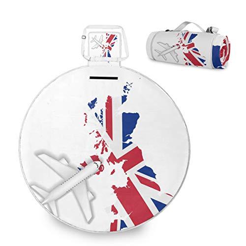 Manta de picnic grande de la bandera de Inglaterra, impermeable, práctica esterilla de picnic para la familia, camping, playa, parque redondo, 59 pulgadas
