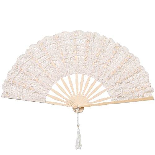 ArtiDeco Abanico de Encaje Abanico de Mano Plegable Vintage con Costillas de Bambú para Decoración...