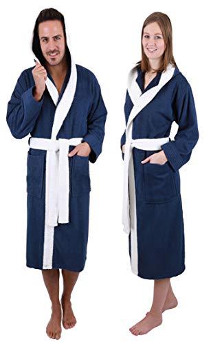 Betz Bademantel mit Kapuze Paris 100% Baumwolle für Damen und Herren 2-farbig Größe S-XXL Größe M - blau-weiß