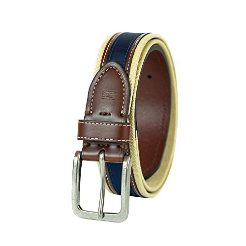 Tommy Hilfiger Men's Ribbon Inlay Belt - Fabric Belt with Single Prong Buckle, Khaki/Brown/Navy, 36
