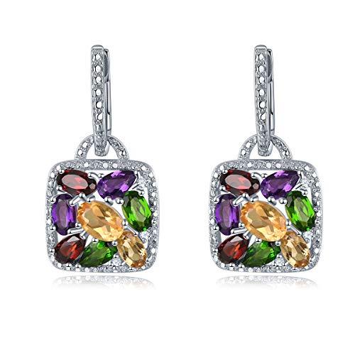Lohaspie - Pendientes de gota para mujer, pendientes de piedras preciosas naturales multicolores, pendientes de plata de ley 925 para niñas, joyería fina y elegante, regalo de cumpleaños