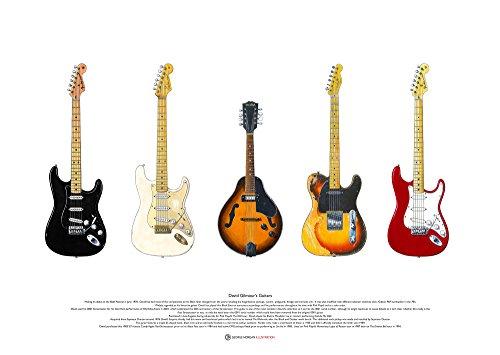 George Morgan Illustration David Gilmour's Gitarren KUNSTPOSTER A2 Größe