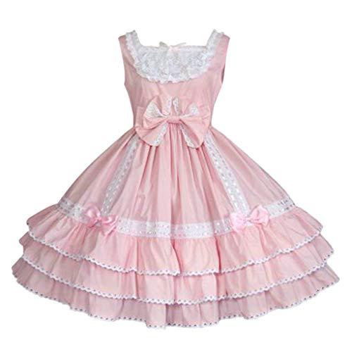 Auiyut Damen Gothic Kleid Retro Kleid Ärmellos Rokoko Kostüm Lolita Kleid Midi Dirndl Trachtenkleid Spitzen Patchwork Vintage Prinzessin Kleid mit Bowknot und Rüschen