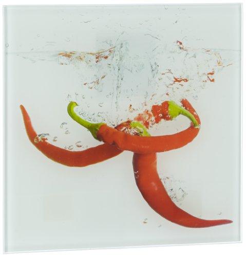 Eurographics DG-DT1053 Glasbild Deco Glass Splashing Chili Pepper  20 x 20 cm