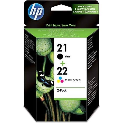 HP 21-22 Combo Pack SD367AE Confezione da Due Cartucce Originali per Stampanti Deskjet Serie D1000, D2000, F2000, F300, F4000 e Officejet Serie 4000, Nero e Tricomia