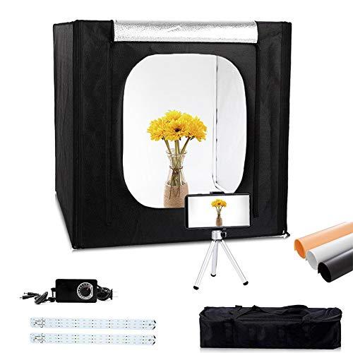 Konseen 撮影ボックス 撮影キット 50x50x50cm 光度調整可能 132個 5500K LEDライト付き プロな 写真撮影 ボックス 3枚PVC背景布 1枚柔光布付き 収納ケース付き 簡易スタジオ