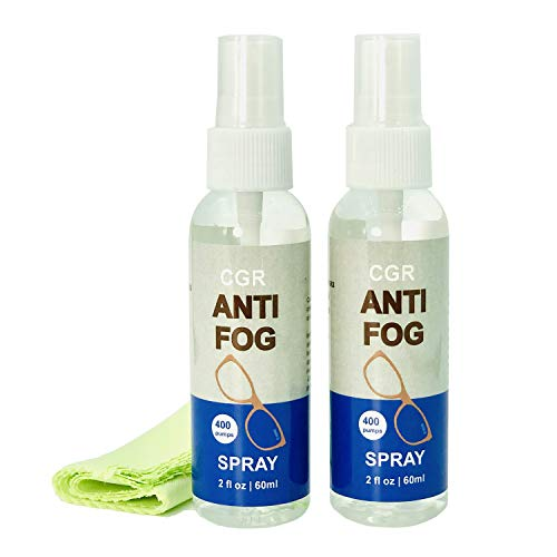 CGR Anti Fog Spray for Glasses: (2pk) 2 oz Spray | Prevents Fog on All Lenses and Glasses, Sunglasses, Goggles, Faceshields, PPE | Safe on All Lenses | DEFOG it (2PK)