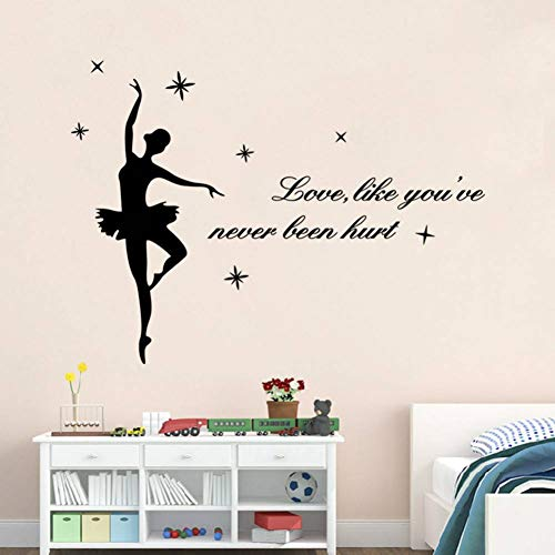 YCEOT Muurstickers liefde, alsof je nog nooit gewond word citaten decoratieve vinyl muurstickers Dance Girl decals wooncultuur poster behang