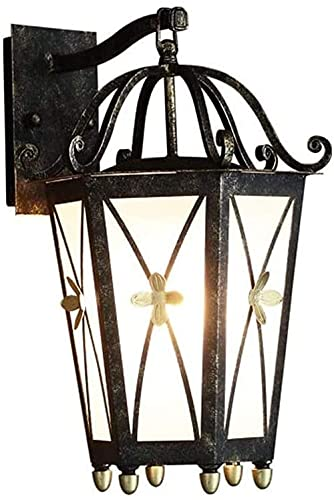 Lámpara de pared de iluminación al aire libre Lámpara de pared al aire libre de aluminio Linterna de cristal de metal de aluminio 1-Luz E27 Wall Sconence Impermeable Exterior Lámpara de pared Luz de l