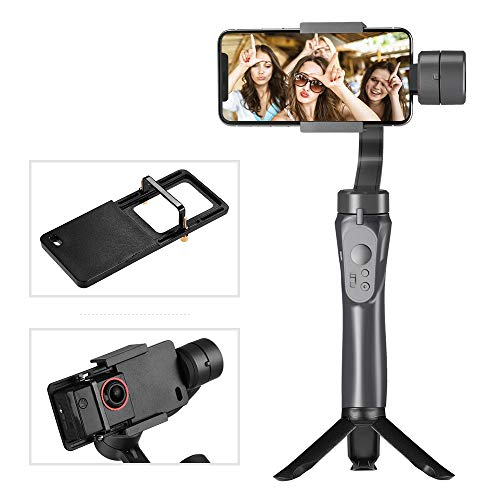 Andoer 3-Axis Handheld Gimbal Stabilizer Built-in Lithium Battery with Mini Tripod Stand Sports Camera Adapter Plate Compatible with iPhone Samsung Huawei Xiaomi Smartphone GoPro 4/5/6/7