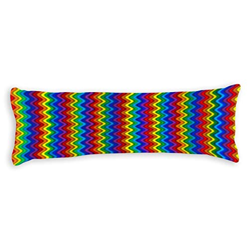 Promini Zigzag Rainbow Body Pillow Cover Pillowcases Cushion with Hidden Zipper Closure for Sofa Bench Bed Home Decor 20'x54'