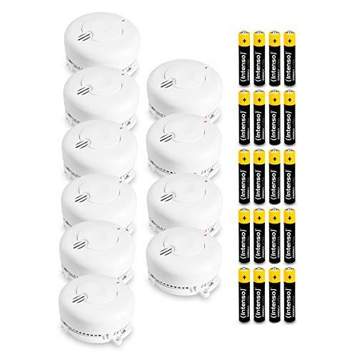 Angeleye 10-delige set rookmelders - brandmelder conform DIN EN14604 incl. batterijen van 5 jaar, wit