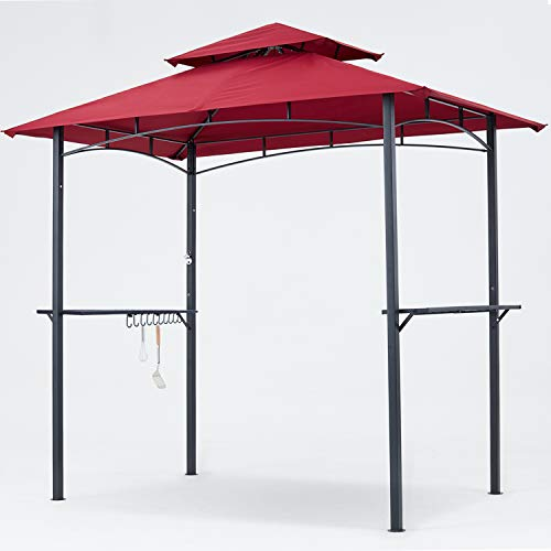MASTERCANOPY Grill Gazebo 8 x 5 Double Tiered Outdoor BBQ Gazebo Canopy with LED Light (Burgundy)