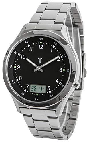 Funk-Armbanduhr, Edelstahl, mit Datums- und Sekundenanzeige