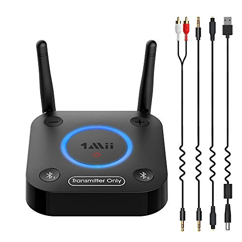 1mii aux Bluetooth Sender, Große Reichweite Bluetooth Transmitter für fernsenher with Volume Control, aptX Low Latency & HD, AUX/RCA/Optical/Coaxial Audio Inputs