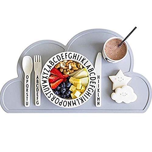 Kuke® Kinder Wolken-Form Silikon Wasserdicht Platzdeckchen (Grau)