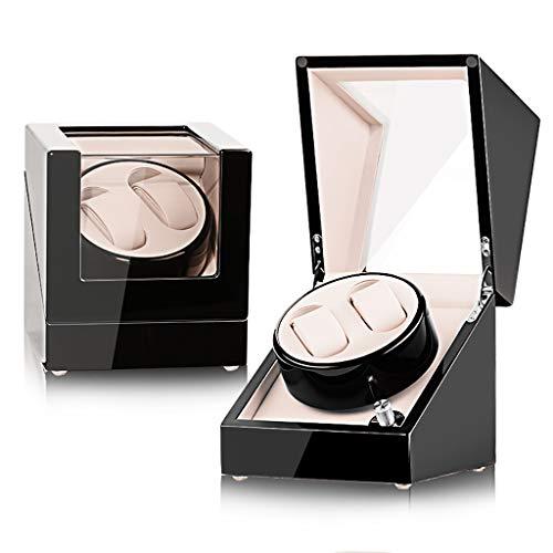 Caja giratoria para relojes Automático Estuche de lujo de madera con doble enrollador automático for 2 relojes de pulsera con 5 modos de rotación y motor silencioso, adecuado for damas y caballeros, c