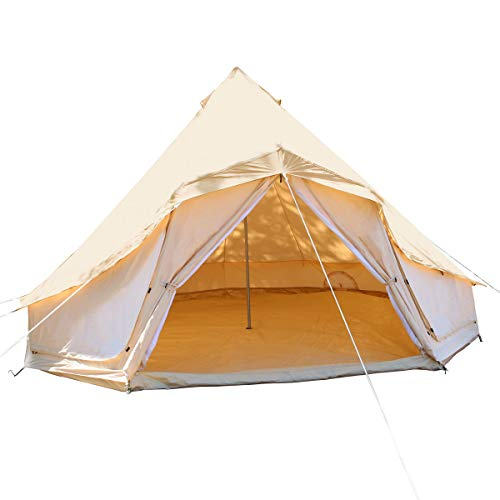 UNISTRENGH Luxury Canvas Cotton Bell Tent Large Waterproof Windproof Yurt Glamping Family Tent with Cable Hole for Camping Hiking Hunting Party Exhibition (Beige, 9.84ft-3M)