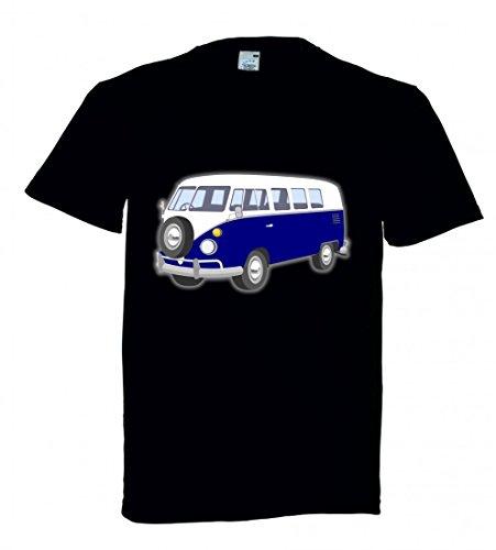 T-Shirt Bus- BLAU- Auto- Automobil- Retro- WOHNMOBIL- Reisen- Fahrzeug- Bully in Schwarz für Herren- Damen- Kinder