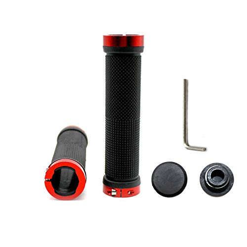 YFaith Puños para manillar de bicicleta, cinta antideslizante ajustable de goma para manillar, compatible con bicicleta de montaña BMX MTB Stunt Scooter con tapas de plástico (negro)