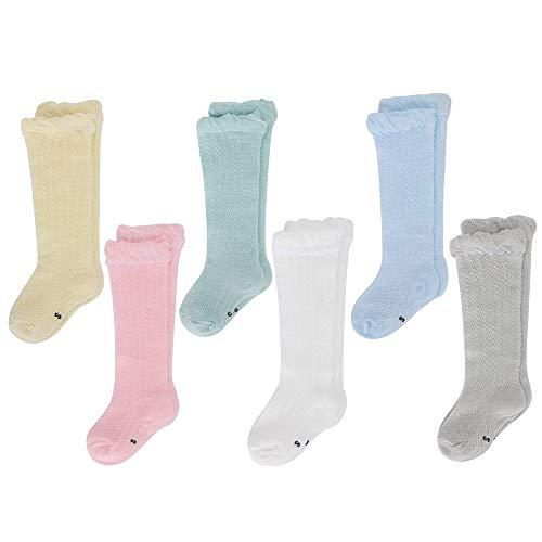 LACOFIA 6 Pares de calcetines largos de altos para bebé niñas Medias de algodón de punto princesa infantiles niña 1-3 años