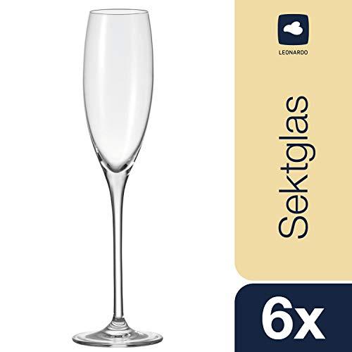 Leonardo Cheers Sekt-Gläser, Sekt-Kelch mit gezogenem Stiel, spülmaschinenfeste Sekt-Kelche, 6er Set, 220 ml, 061631