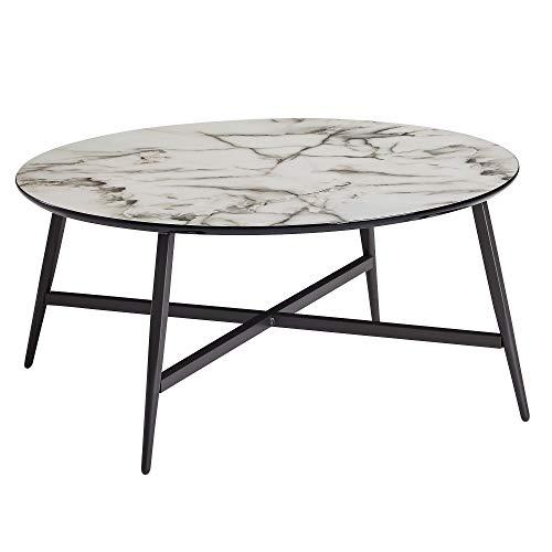 FineBuy Couchtisch Rund 88x37x88 cm mit Marmor Optik Weiß | Wohnzimmertisch mit Metall-Beine Schwarz | Moderner Dekotisch
