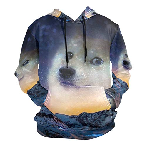 Funny Doge Emoticon Shiba Inu Galaxy Men's Hipster Hip Hop Classic Pullover Long Hoodie Sweatshirts Jacket