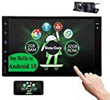 Android 10.0 Touch Screen Car Stereo Bluetooth Car Radio 7 inch Octa Core Head Unit GPS Navigation Double 2 Din in-Dash Full Video Player OBD2 Free Rear Camera Car Logo Wallpaper EQ