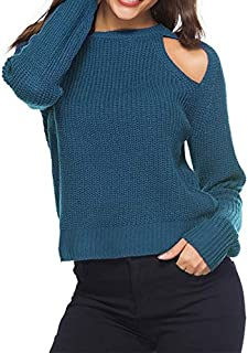 QGT Clothing Women Sexy Leaky Shoulder Round Neck Sweater, Size: L(Gray) (Color : Blue, Size : L)
