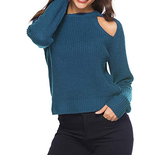 Zhangl Sweater Clothing Suéter con Cuello Redondo y Hombros Descubiertos Sexy for Mujer Sweater Clothing (Color : Blue, tamaño : L)