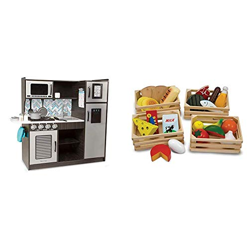 "Melissa & Doug Wooden Chef's Pretend Play Toy Kitchen with ""Ice"" Cube Dispenser, 39"" H x 15.5"" W x 43.25"" L & Food Groups - Wooden Play Food, The Original (Best for 3, 4, 5, and 6 Year Olds)"