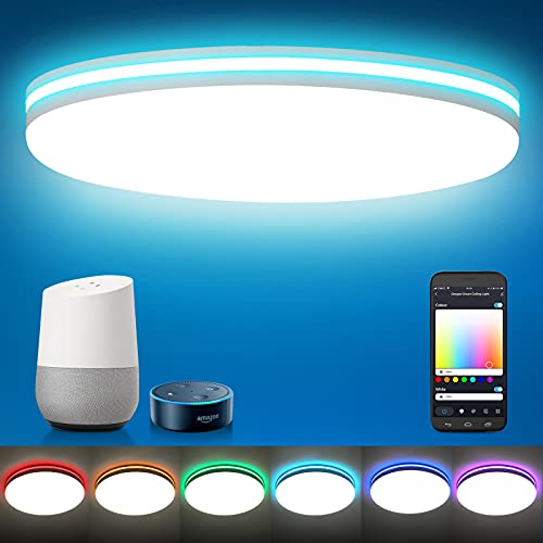 Oeegoo 2021 New Smart Ceiling Light RGB, Compatible with Alexa Google Home, Upgrade Low Profile LED Flush Mount Ceiling Light Fixtures for Bedroom/Kitchen, 8.7 Inch 18W