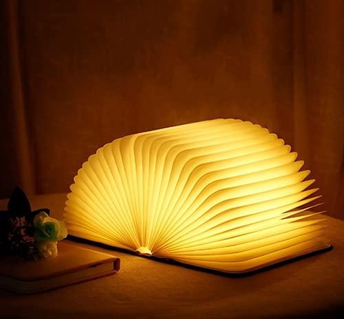 ブックライト 装飾用Ledテーブルランプ 折りたたみブックランプ LED ブック ライト 目に優しい 木製装飾ギフト 夜間照明のUSB充電式ブック型ライト 磁気デザイン-創造的なギフト