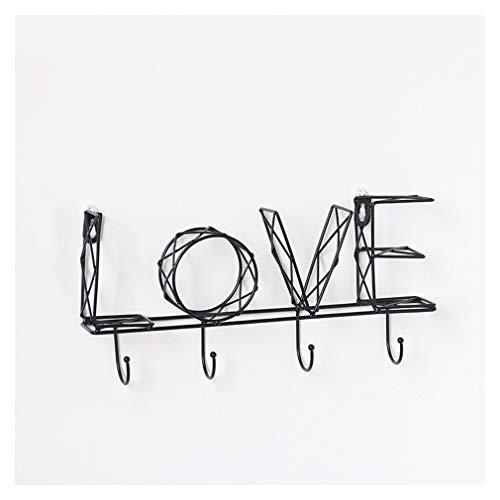 TIM-LI An Der Wand Montierter Handtuchhalter Aus Eisen, Garderobenregal Dreidimensionales Buchstabenbild, Schlüsselregal Wanddekoration,Schwarz,Love