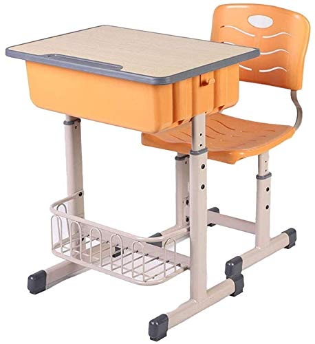 LILIS Pupitres Infantil Altura Ajustable niños Estudianto Lectura Escritorio de diseño ergonómico, Edad Conveniente Tabla de Aprendizaje de los niños 3-18 Multifuncional (Color : Orange) 🔥