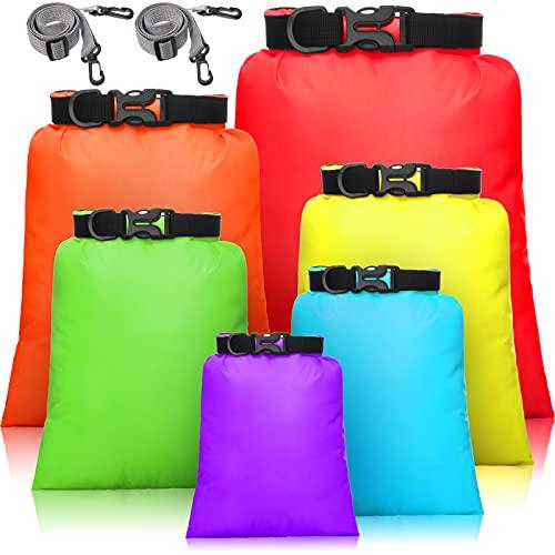Juego de 6 bolsas impermeables para ropa seca ligera con 15 L, 8 L, 5 L, 4 L, 3 L, 2 L sacos y 2 correas largas ajustables para kayak, rafting, canotaje, senderismo, camping (colorido)