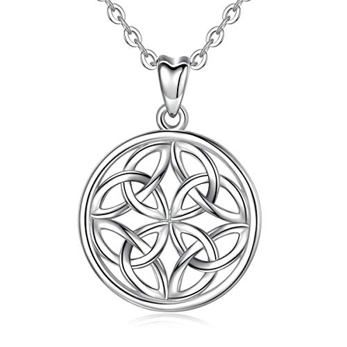 INFUSEU Circle Celtic Knot Pendant Necklace for Women Irish Triangles Jewelry Sterling Silver Ladies Neckless