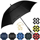 Heasy Golf Umbrella Windproof Large 54/62/68 Inch Extra Sturdy Auto Open Oversize Double Canopy Vented Stick Umbrellas for Men & Women (Black)