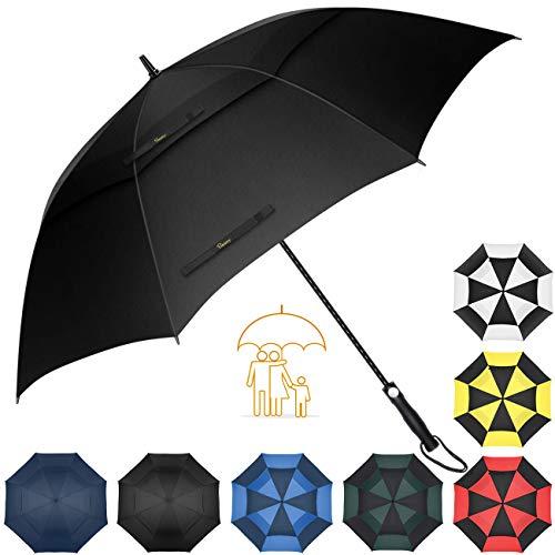 Heasy Golf Umbrella 58 62 68 Inch, Big Windproof Waterproof Oversize Double Canopy Extra Sturdy Automatic Stick Umbrellas for Men & Women
