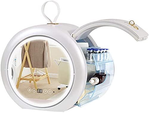 Mini frigorífico pequeño Mini refrigerador 6 litros AC / DC Belleza portátil Frigorífico Frigorífico Frigorífico, refrigerador de espejo de maquillaje con luz LED, más cálido para dormitorio, dormitor